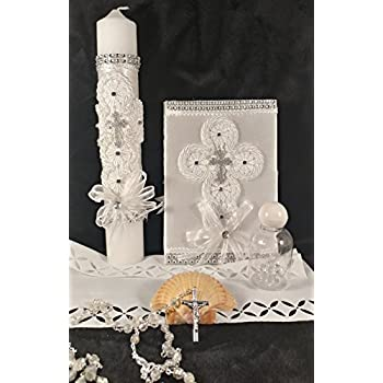 Espirito Santo White Decorated Silver Holy Baptism Candle Set For Boy/Girl - Espanol-