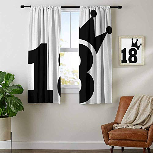 - youpinnong 18th Birthday, Curtains Small Window, Cartoon Soccer Jersey Seem Bold 18 Number Party Sports Playing Art Print, Curtains Kitchen, W72 x L63 Inch Black and White