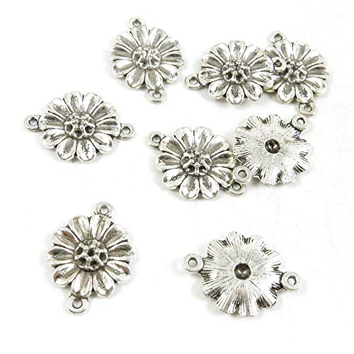 (900 Pieces Antique Silver Tone Jewelry Making Charms Crafting Beading Craft V2DT1 Sunflower Connector)