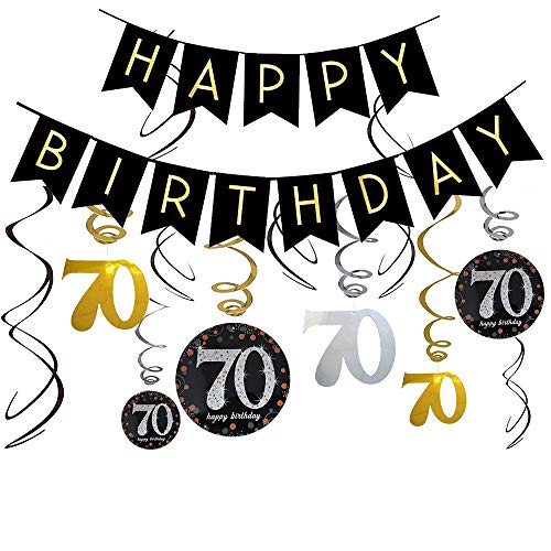 70 Birthday Banners / 70th Birthday Decorations for Women/Men, 70th Birthday Party Decorations for 70s Birthday