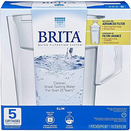 - Brita Water Pitcher, Slim, 5 Cup Capacity, Includes One Advanced Filter-White, Size