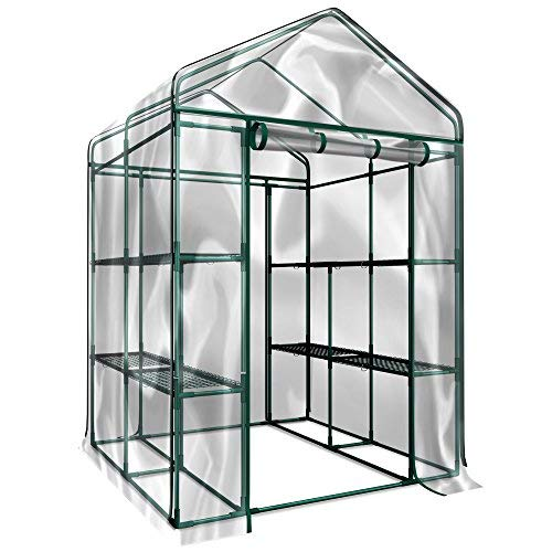 Home-Complete Walk-In Greenhouse- Indoor Outdoor with 8 Sturdy Shelves-Grow Plants, Seedlings, Herbs, or Flowers In Any Season-Gardening Rack (Best Herbs To Grow In Pots Indoors)