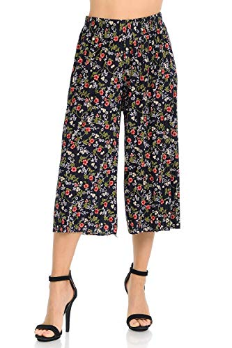 Auliné Collection Womens Pleated High Waist Wide Leg Cropped Capri Culotte Pants - Spring Garden Floral
