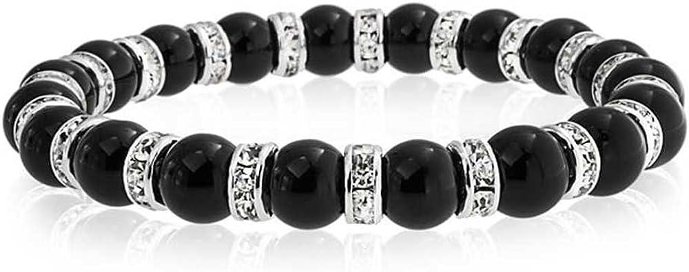 Negro ónix bola perla stackable Strand pulsera elástica para las mujeres blanco cristal Rondelle espaciador plata o oro plateado