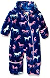 Hatley Baby Girls' Fuzzy Fleece Bundler Silhouette Horses, Blue, 12-18 Mos.