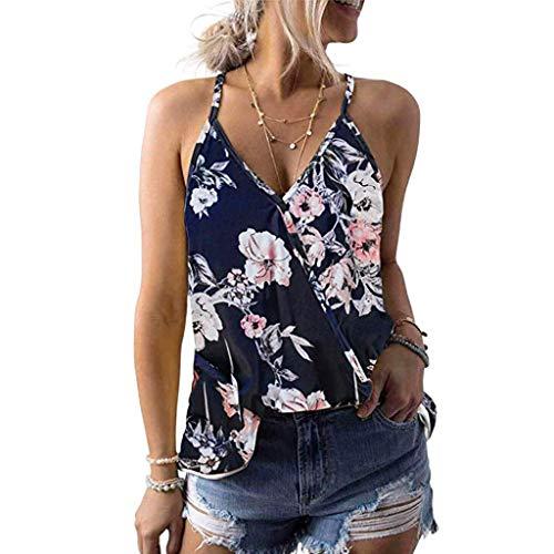 Xturfuo Women's Tops Print Vest V-Neck Sling T-Shirt Summer Sleeveless Blouse Navy