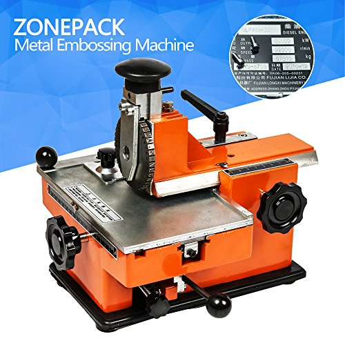 ZONEPACK Metal Stamping Machine Printer Nameplate Stamping Printer Tag Plate Dog Tag Printer for Copper Aluminum Stainless Steel and Plastic Height Working Plate 7.8' 5.3' (H4.0mm W2.1mm)