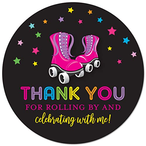 Roller Skate Decorations (40 cnt Roller Skating Thank You Labels - Roller Skate Birthday Favor Stickers (Black)