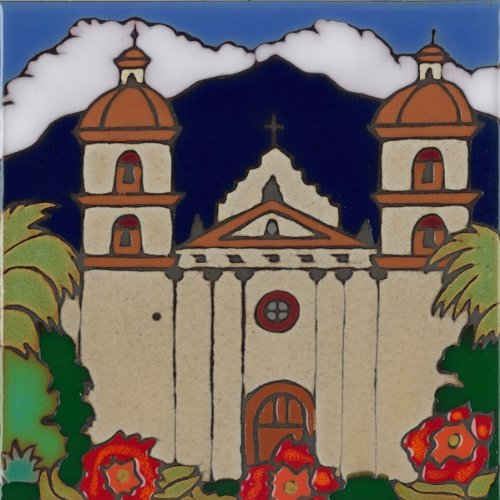 Pacific Blue Tile Original Hand Painted Ceramic Art Tile, 6 x 6 inch - Mission Santa Barbara - Finely Hand Painted Ceramic