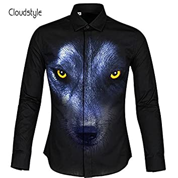 MAYUAN520 Camisa de Hombre Lobos Negros Cloudstyle HD 3D Pintura Hombres Camiseta Playeras de Moda Hombre Ou código S-5XL Manga Larga Marca famosi Camicie ...
