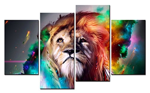 SmartWallArt - Large Size Animal Paintings Wall Art Very Beautiful Colorful Lion Talking Heads 4 Pieces Picture Print on Canvas for Modern Home Decoration