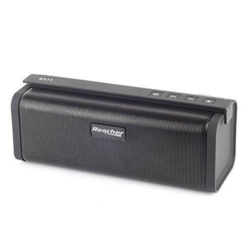 Reacher Portable Bluetooth Speaker with FM Radio, Power Bank, USB, Micro SD, 3.5 AUX (Black)