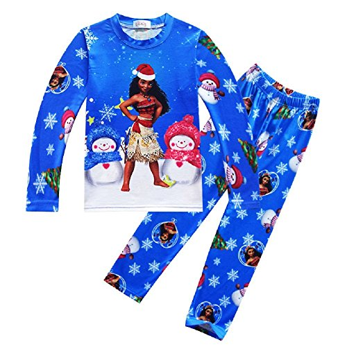 Price comparison product image 2-Piece Top & Bottom Childrens Kids Girls Santa Moana Christmas Pajama Set (7-8 years(Tag size 130))
