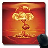 Ahawoso Mousepads for Computers Red Orange Atomic Mushroom Cloud Following Nuclear Bang Explosion Bomb Nuke Test Atom Hydrogen Oblong Shape 7.9 x 9.5 Inches Non-Slip Oblong Gaming Mouse Pad