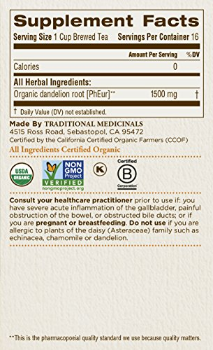 032917001658 - Traditional Medicinals Organic Roasted Dandelion Root Tea, 16 Tea Bags (Pack of 6) carousel main 4