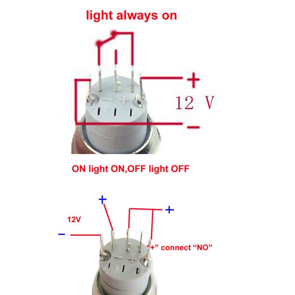 Supmico Auto 12V 16mm simbolo luce bianca LED leggero lampada cerchio metallo premi il bottone interruttore a levetta