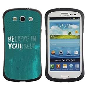 Suave TPU GEL Carcasa Funda Silicona Blando Estuche Caso de protección (para) Samsung Galaxy S3 I9300 / CECELL Phone case / / Believe In Yourself Quote Motivational Turquoise /
