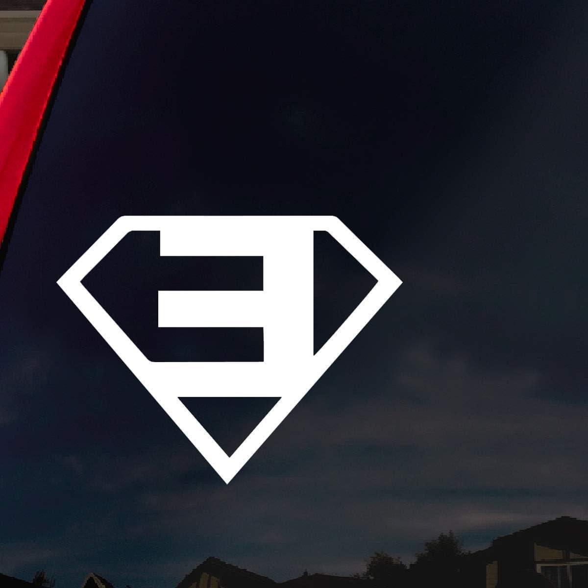 "SoCoolDesign E Rapper Slim Superman Car Window Vinyl Decal 4"" Wide (White)"
