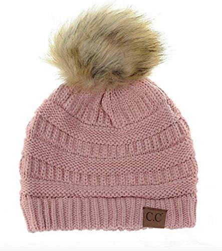 Motobear CC Women CC Beanie Soft Stretch Cable Knit Pom Pom C.C Beanie Hat