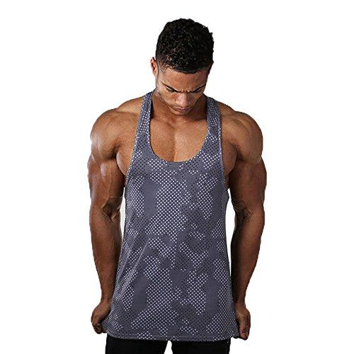 Fitsical Men Tank Tops Breathable Quick-Drying Vest Undershirts Stringer Fitness (XXL, Grayish (Fit Singlet)