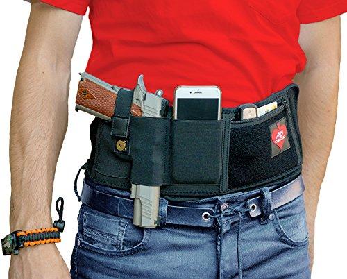 AOS - Belly Band Holster For Concealed Carry BUNDLE   SUPERIOR Elastic Neoprene Waistband   Survival Bracelet+Bag   Ambidextrous Draw   IWB Holder For ALL Pistols Revolver Glock 9mm   Men & Women