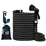 PanShield Upgraded 100FT Expandable Garden Hose Set, Double Latex Core, 3/4' Solid Brass Rust-Free Fittings, Lightweight Kink Free, Flexible Water Hose with 8 Function Spray Nozzle, Bag, Hanger
