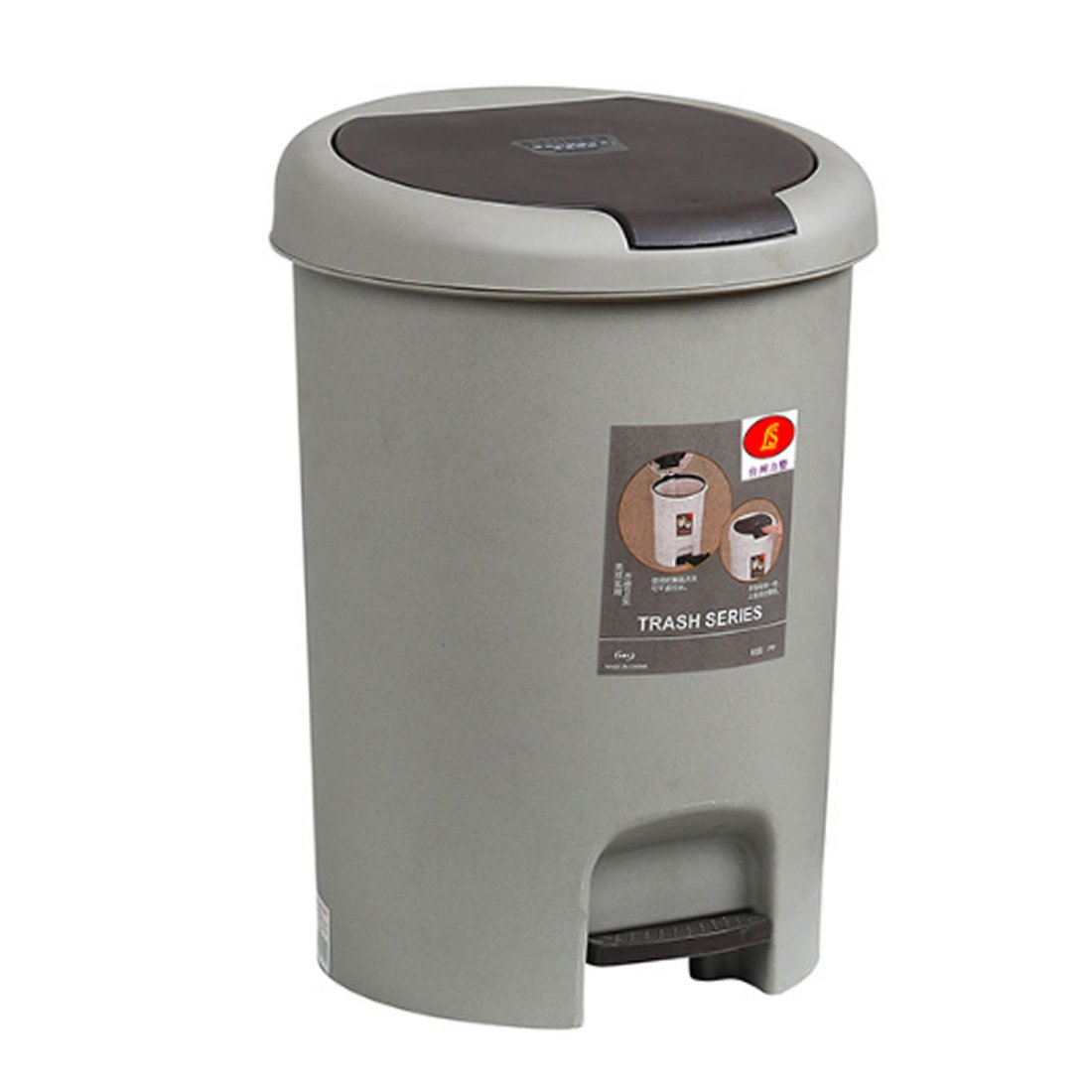 PeleusTech® 15L Foot Pressing Type Trash Can Household Foot Pedal Garbage Can for Home Office - (Grey)