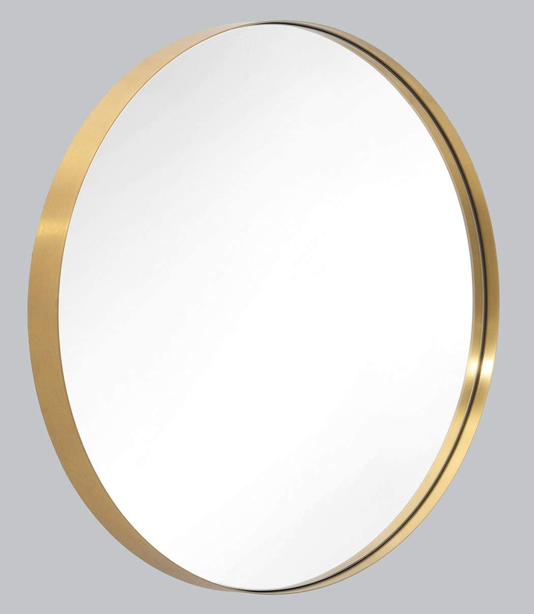 Amazon Com Wall Mirror 30 Brushed Gold Round Metal Stainless Steel Circle Frame For Bathroom Entryways Washrooms Living Rooms Doubles As Modern Wall Art Home Kitchen