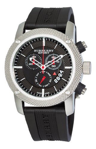 (Burberry Men's BU7700 Endurance Black Chronograph Dial Rubber Strap)