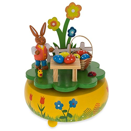 Bunnies Pique - BestPysanky Bunny Picnic with Easter Eggs Basket Wooden Rotating Music Box Figurine 5.25 Inches