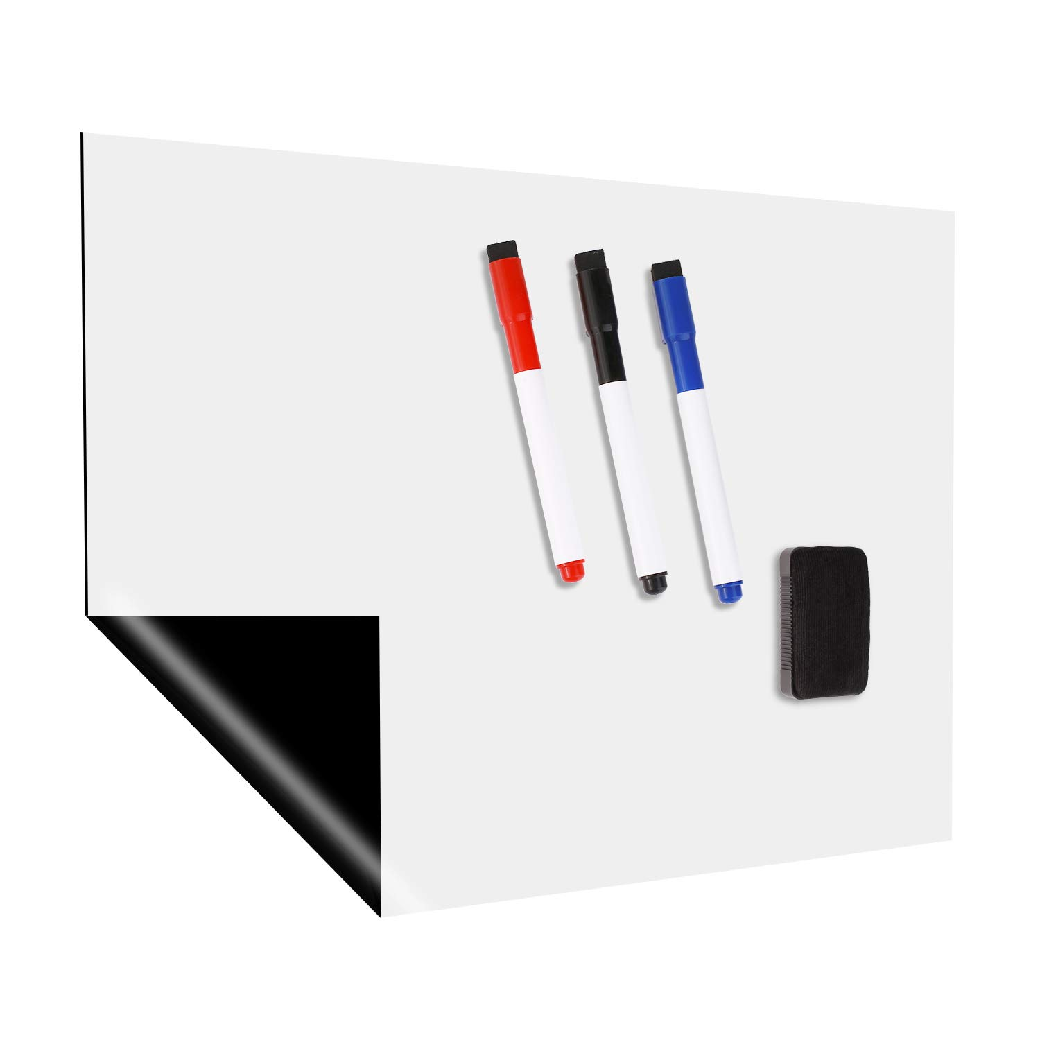 Magnetic Whiteboard Sheet, 17''×12'' Stain Resistant Dry Erase Board for Refrigerator, Fridge Whiteboard, White Message Board with 3 Colored Markers and 1 Eraser with Magnets by YUPY
