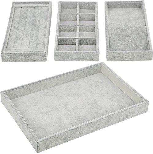 Organizador de cajones 4 en 1, apilable charola de almacenamiento o exhibición para joyería, 4 in 1 - Grey, Estándar, 1