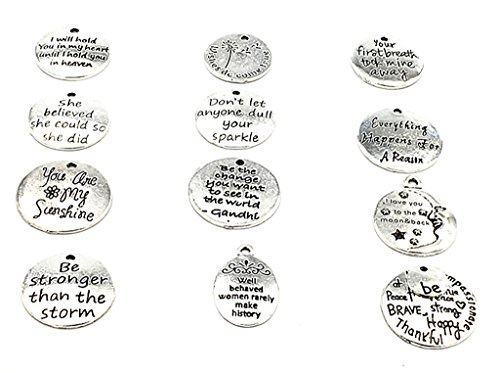 Kinteshun Alloy Lettering Hang Tag Round Quote Message Pendant For Diy Jewelry Making Accessaries 12Pcs Antique Silver Multistyle
