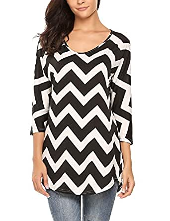 Meaneor Women Boho Chevron Stripes Loose Top Casual 3 4 Sleeves Blouse Black S