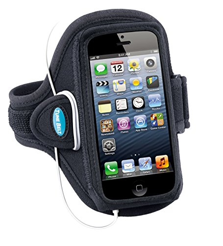 Armband for iPhone SE, 5, 5s, 5c & iPod touch 6, 5 - Great for Running, Sports, Exercise, Jogging & Gym Workouts for Men & Women - Sweat-Resistant Design by Tune Belt [Black]