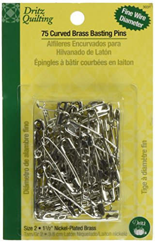 (Dritz 3031 Curved Basting Safety Pins, Size 2, Nickel-Plated Brass)