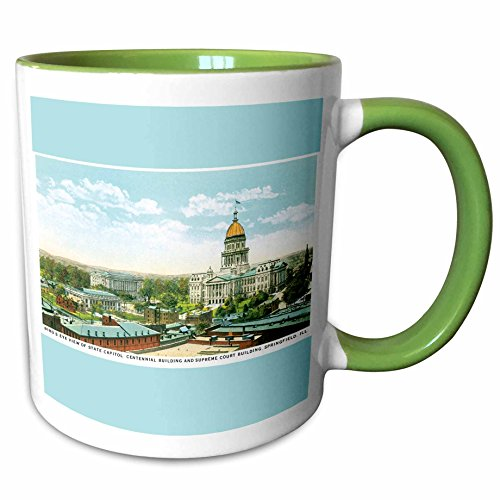 View Birdseye Postcard (3dRose BLN Vintage US Cities and States Postcard Designs - Birds Eye View of State Capitol Springfield Illinois Reproduction - 15oz Two-Tone Green Mug (mug_169881_12))