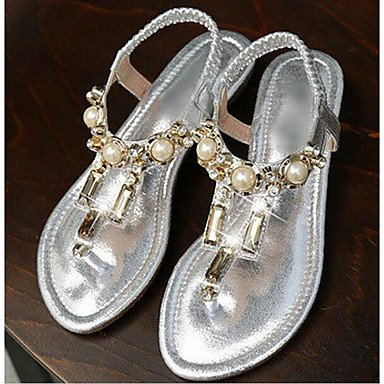 LvYuan Mujer Sandalias Confort PU Primavera Casual Confort Dorado Negro Plata Plano Silver