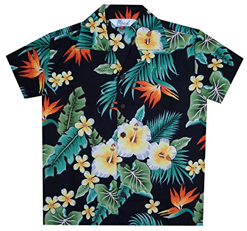 Hawaiian Shirts 46B Boys Flower Leaf Beach Aloha Holiday Casual Black L ()