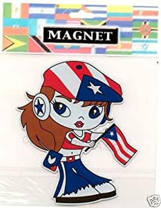 """PUERTO RICO FLAG """"GIRL"""" MAGNET"""