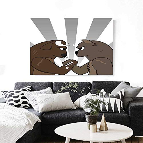 for Home Decoration Bull Bear Preparing to Fight Striped Background Wild Competition Customizable Wall Stickers 20