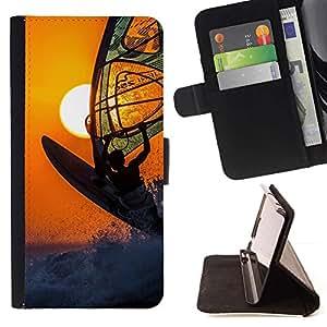 For HTC Desire 820 Case , Surf viento Boarding Sun Naranja Deporte Extremo- la tarjeta de Crédito Slots PU Funda de cuero Monedero caso cubierta de piel