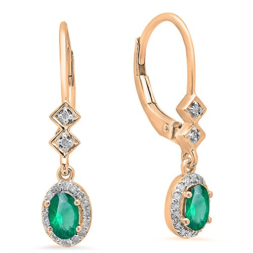 Emerald Oval 5x3mm (10K Rose Gold 5X3 MM Each Oval Emerald & Round Diamond Ladies Dangling Drop Earrings)