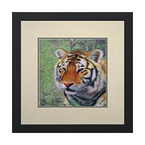 Susho, King Silk Art 100% Handmade Silk Embroidery - Portrait of a Prosperity Tiger on Green - White Mat Framed Medium Size 34104WF