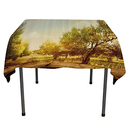 Landscape, Waterproof/Oil Proof/Stain Resistant Table CoverMystic Forest Flowers Trees Farm with Wooden Deck Oil Painting Image, for Outdoor and Indoor Use, 36x36 Inch Sepia Umber Peach