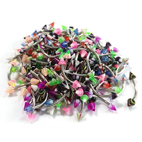 Kuulee Stainless Steel Colorful Pointed Cone Body Piercing Jewelry Tongue Nail Lip Eyebrow Nose Ring 20pcs/Pack (Starter Belly Rings)