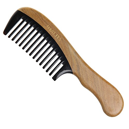 Wide Tooth No Static Black Buffalo Horn Comb with Sandalwood Handle - 5