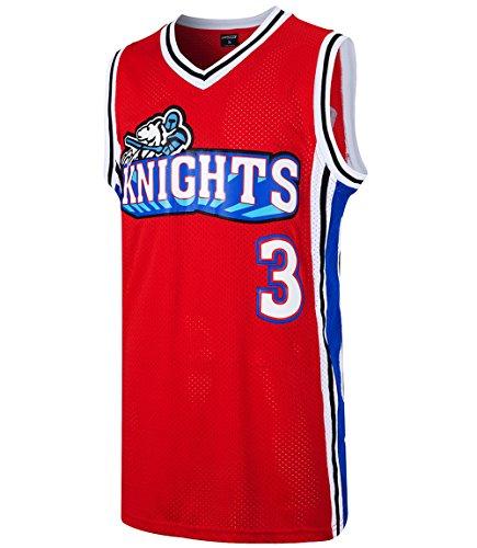 JOLISPORT Cambridge #3 Knights Mens Basketball Jersey Embroidery S-XXXL (Red, Medium)