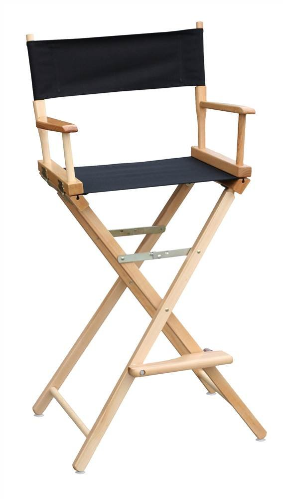 30 in. Commercial Director's Chair w Natural Frame & Black Canvas