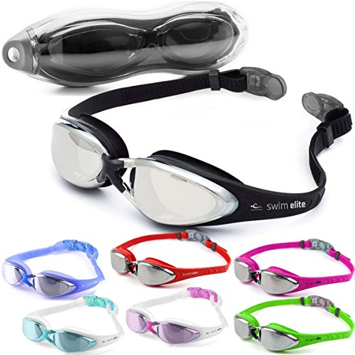 Swimming Goggles by SWIM ELITE - BLACK - Mirror Finish with UV and Anti Fog...